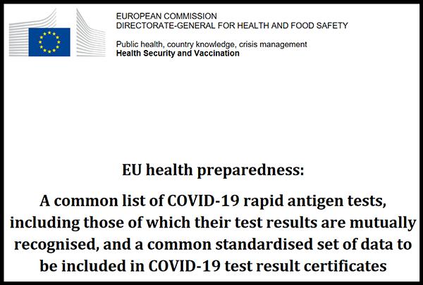 EU list of COVID-19 approved rapid antigen tests